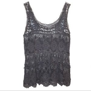 VINTAGE CROCHET AND LACE GREY TANK TOP